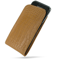 Samsung Galaxy S / Plus Leather Sleeve Pouch Case (Brown Croc Pattern) PDair Premium Hadmade Genuine Leather Protective Case Sleeve Wallet