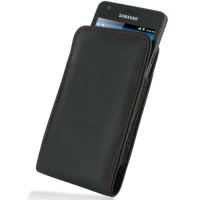 Leather Vertical Pouch Case for Samsung Galaxy S II GT-i9100 (Red Stitch)
