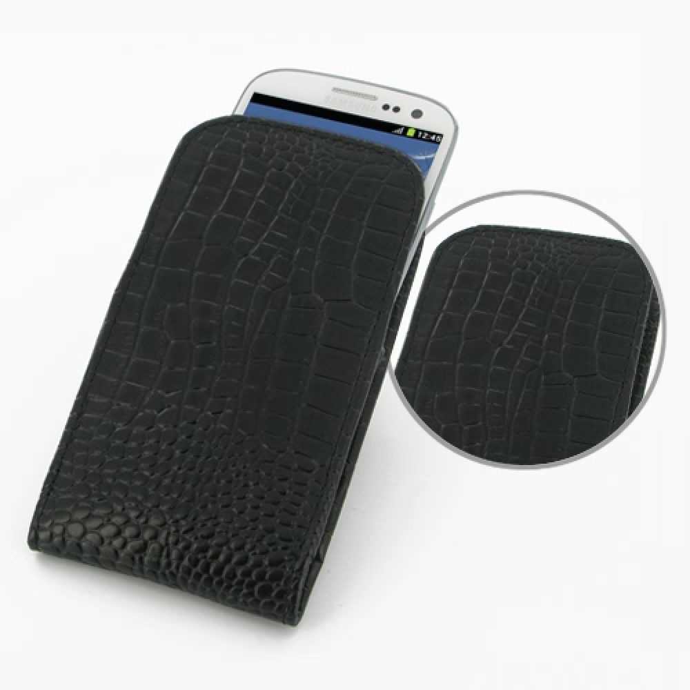 10% OFF + FREE SHIPPING, Buy Best PDair Quality Handmade Protective Samsung Galaxy S3 Leather Sleeve Pouch Case (Black Croc Pattern) You also can go to the customizer to create your own stylish leather case if looking for additional colors, patterns and t
