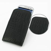 Leather Vertical Pouch Case for Samsung Galaxy S III S3 GT-i9300 (Black Crocodile Pattern)