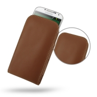 Leather Vertical Pouch Case for Samsung Galaxy S4 SIV LTE GT-i9500 GT-i9505 (Brown)
