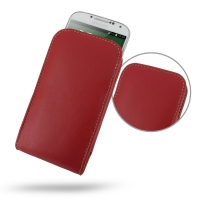 Leather Vertical Pouch Case for Samsung Galaxy S4 SIV LTE GT-i9500 GT-i9505 (Red)