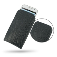 Leather Vertical Pouch Case for Samsung Galaxy Win Duos GT-i8550 GT-i8552 (Black Crocodile Pattern)