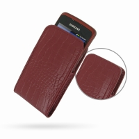 Samsung Galaxy xCcover Leather Sleeve Pouch Case (Red Croc Pattern) PDair Premium Hadmade Genuine Leather Protective Case Sleeve Wallet