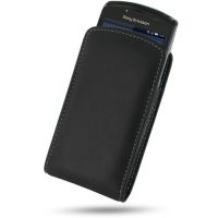 Leather Vertical Pouch Case for Sony Ericsson Xperia Play (Black)
