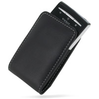 Leather Vertical Pouch Case for Sony Ericsson Xperia X10 Mini (Black)