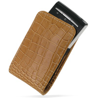Leather Vertical Pouch Case for Sony Ericsson Xperia X10 Mini (Brown Crocodile Pattern)
