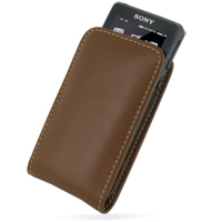 Leather Vertical Pouch Case for Sony Walkman NWZ-X1050 NWZ-X1060 NWZ-X1000 (Brown)