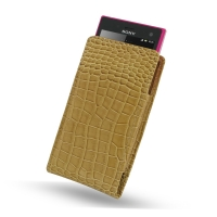 Sony Xperia Acro S Leather Sleeve Pouch Case (Brown Croc Pattern) PDair Premium Hadmade Genuine Leather Protective Case Sleeve Wallet