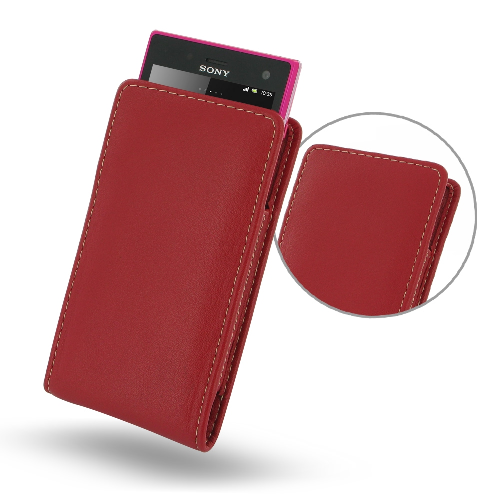 Sony Xperia Acro S Leather Sleeve Pouch Case (Red) PDair Premium Hadmade Genuine Leather Protective Case Sleeve Wallet