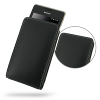 Sony Xperia E Dual Leather Sleeve Pouch Case PDair Premium Hadmade Genuine Leather Protective Case Sleeve Wallet
