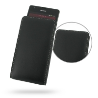 Sony Xperia SP Leather Sleeve Pouch Case PDair Premium Hadmade Genuine Leather Protective Case Sleeve Wallet