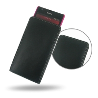 Sony Xperia SP (in Slim Cover) Pouch Case PDair Premium Hadmade Genuine Leather Protective Case Sleeve Wallet