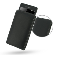Sony Xperia TX Leather Sleeve Pouch Case (Black) PDair Premium Hadmade Genuine Leather Protective Case Sleeve Wallet