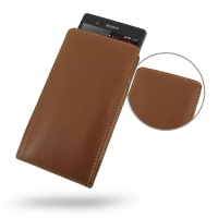 Leather Vertical Pouch Case for Sony Xperia Z L36H (Brown)
