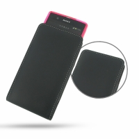 Leather Vertical Pouch Case for Sony Xperia Z L36H ( Compatible with 1.0 mm Slim Case / Cover on )