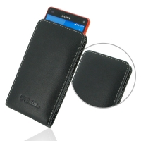 Sony Xperia Z3 Compact Leather Sleeve Pouch Case PDair Premium Hadmade Genuine Leather Protective Case Sleeve Wallet