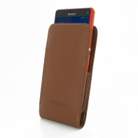 Sony Xperia Z3 Compact Leather Sleeve Pouch Case (Brown) PDair Premium Hadmade Genuine Leather Protective Case Sleeve Wallet