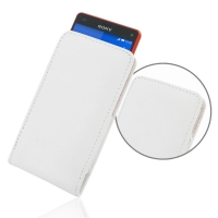 Sony Xperia Z3 Compact Leather Sleeve Pouch Case (White) PDair Premium Hadmade Genuine Leather Protective Case Sleeve Wallet