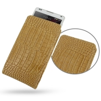 Leather Vertical Pouch Case for Sony Xperia ZL L35H (Brown Crocodile Pattern)