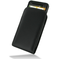 Leather Vertical Pouch Case for Sprint HTC EVO 3D PG86100 (Black)