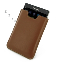 Leather Vertical Sleeve Pouch Case for BlackBerry Passport (Brown)