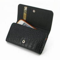 Leather Wallet Case for Apple iPhone 4 | iPhone 4s (Black Crocodile Pattern)
