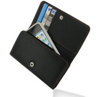 Leather Wallet Case for Apple iPhone 4 | iPhone 4s (Orange Stitch)