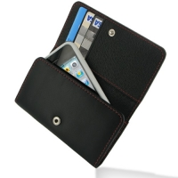 Leather Wallet Case for Apple iPhone 4 | iPhone 4s (Red Stitch)