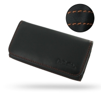 Leather Wallet Case for Apple iPhone 5 | iPhone 5s (Orange Stitch)