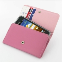 Leather Wallet Case for Samsung Galaxy S Advance GT-i9070 (Petal Pink)