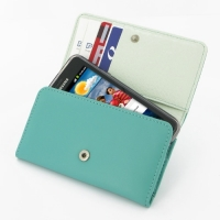 Leather Wallet Case for Samsung Galaxy S II GT-i9100 (Aqua)