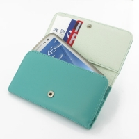Leather Wallet Case for Samsung Galaxy S III S3 GT-i9300 (Aqua)
