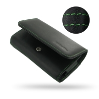 Leather Wallet Case for Samsung Galaxy S4 zoom SM-C1010 (Green Stitch)