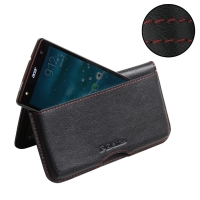Acer Liquid E3 Leather Wallet Pouch Case (Red Stitch) PDair Premium Hadmade Genuine Leather Protective Case Sleeve Wallet