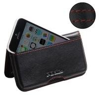 Leather Wallet Pouch for Apple iPhone 5c (Red Stitch)