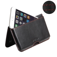 Leather Wallet Pouch for Apple iPhone 6 Plus | iPhone 6s Plus (Red Stitch)