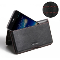 Asus PadFone Infinity Leather Wallet Pouch Case (Red Stitch) PDair Premium Hadmade Genuine Leather Protective Case Sleeve Wallet