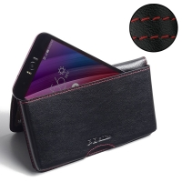 Asus Zenfone Selfie ZD551KL Leather Wallet Pouch Case (Red Stitch) PDair Premium Hadmade Genuine Leather Protective Case Sleeve Wallet