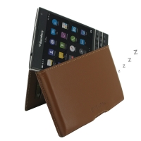 Leather Wallet Pouch for BlackBerry Passport (Brown)