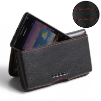 Huawei Ascend P1 XL Leather Wallet Pouch Case (Red Stitch) PDair Premium Hadmade Genuine Leather Protective Case Sleeve Wallet