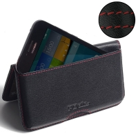 Huawei Ascend Y560 Leather Wallet Pouch Case (Red Stitch) PDair Premium Hadmade Genuine Leather Protective Case Sleeve Wallet