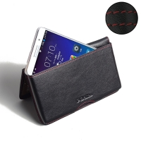 Leather Wallet Pouch for Lenovo A5800 (Red Stitch)