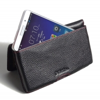 Leather Wallet Pouch for Lenovo A5800 (Black Pebble Leather/Red Stitch)