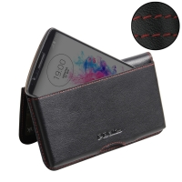 Leather Wallet Pouch for LG G3 D850 D855 (Red Stitch)