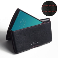 Leather Wallet Pouch for LG G4 H815 (Red Stitch)
