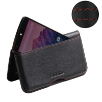 Nexus 5 Leather Wallet Pouch Case (Red Stitch) PDair Premium Hadmade Genuine Leather Protective Case Sleeve Wallet