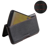 Nexus 4 Leather Wallet Pouch Case (Red Stitch) PDair Premium Hadmade Genuine Leather Protective Case Sleeve Wallet