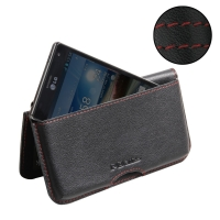 LG Optimus 4X HD Leather Wallet Pouch Case (Red Stitch) PDair Premium Hadmade Genuine Leather Protective Case Sleeve Wallet