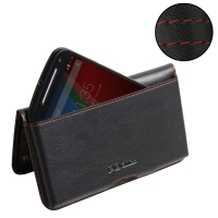 Moto G 2nd Gen Leather Wallet Pouch Case (Red Stitch) PDair Premium Hadmade Genuine Leather Protective Case Sleeve Wallet